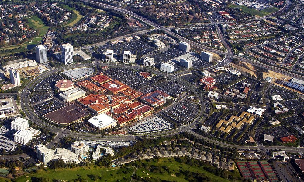 An aerial view Fashion Island in Newport Beach California.